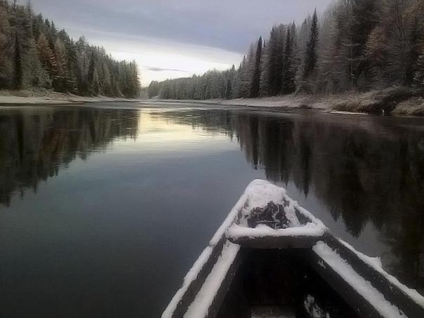 Река Юла зимой в Архангельской области